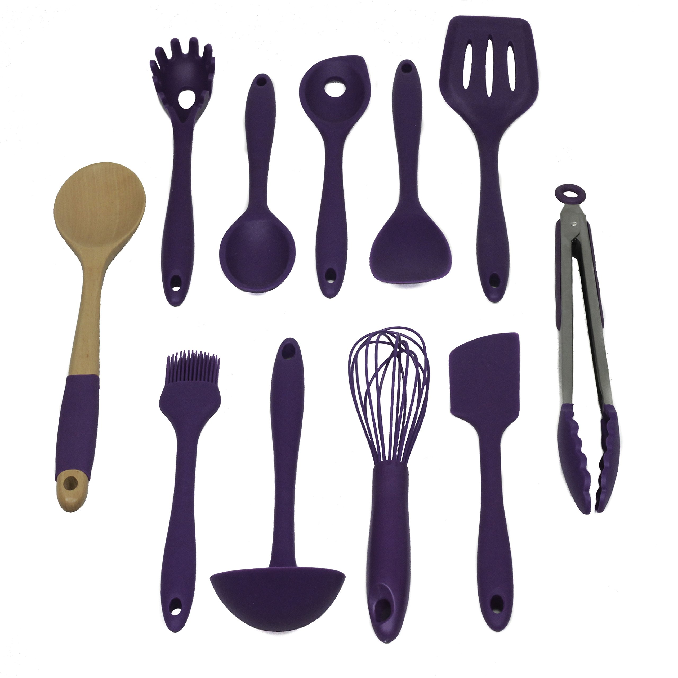 Chef Craft 42105 Premium Silicone Kitchen Tool and Utensil Set, 11 Piece, Purple by Chef Craft