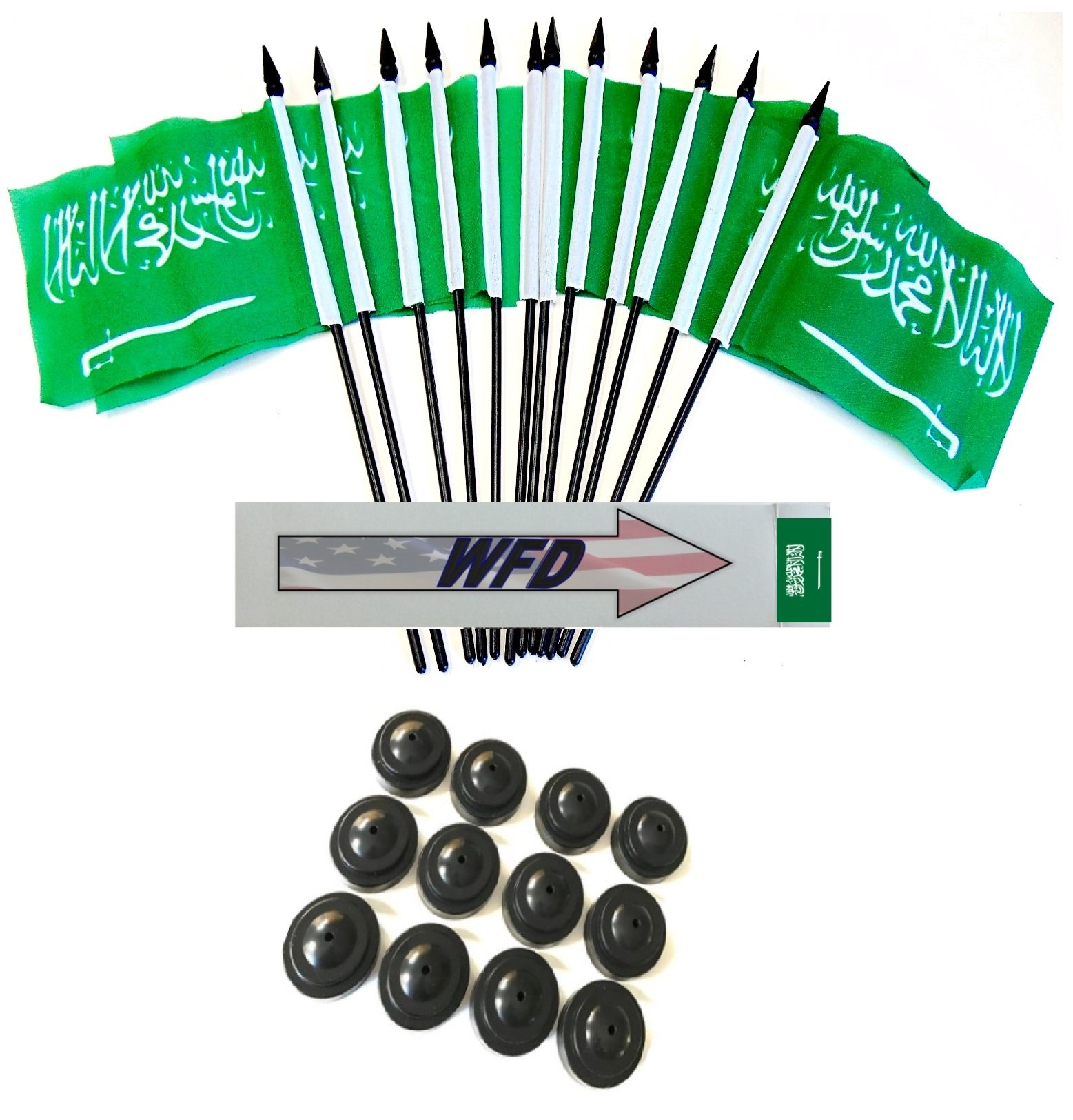 Pack of 12 4''x6'' Saudi Arabia Polyester Miniature Office Desk & Little Table Flags, 1 Dozen 4''x 6'' Saudi Arabian Small Mini Handheld Waving Stick Flags with 12 Flag Bases (Flags with Stands)