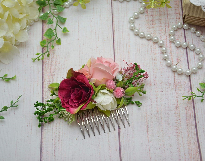 Pink Blush Bridal flower headpiece Wedding Hair piece for bridesmaid Flower girl comb