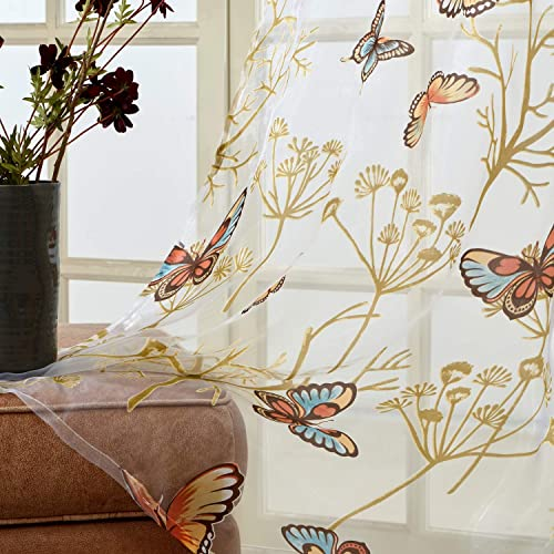 Top Finel Butterfly Voile Sheer Curtains 96 Inches Long for Bedroom Living Room Nursery Grommet Window Curtains, 2 Panels