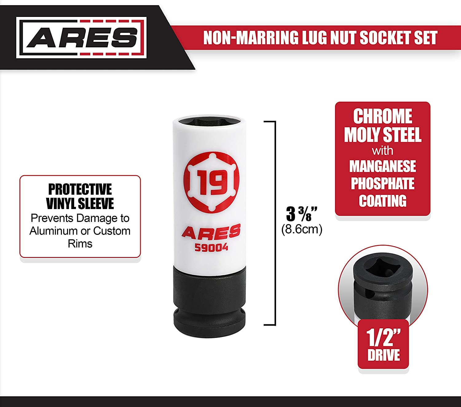 ARES 59005-21mm 1//2-Inch Drive Non-Marring Lug Nut Socket Color Coded /& Laser Etched for Easy Identification Protective Sleeve Prevents Damage to Custom Rims /& Lug Nuts