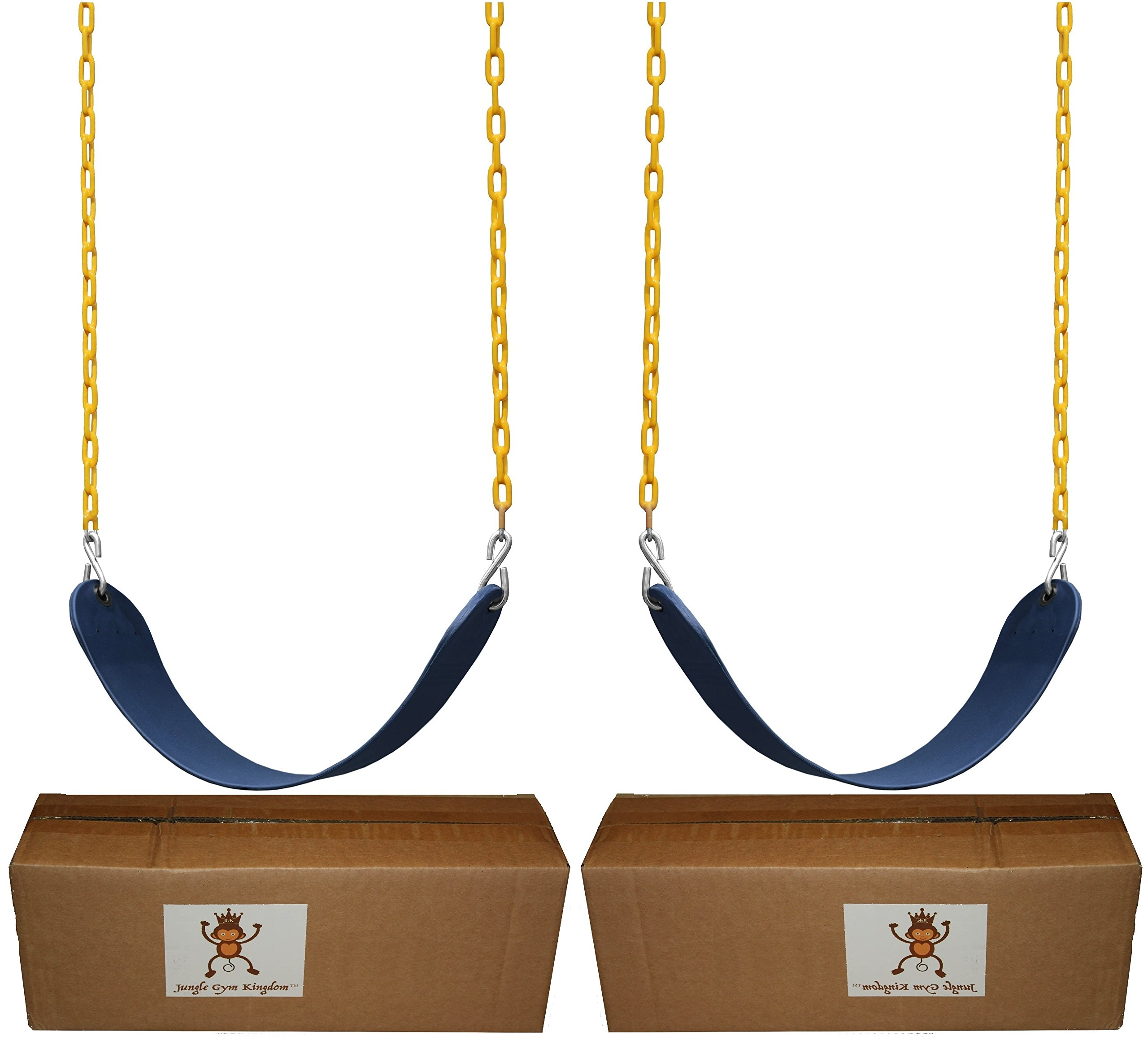 """Playground Set With 2 Pack Swings Seats Heavy Duty 66/"""" Chain Plastic Coated"""