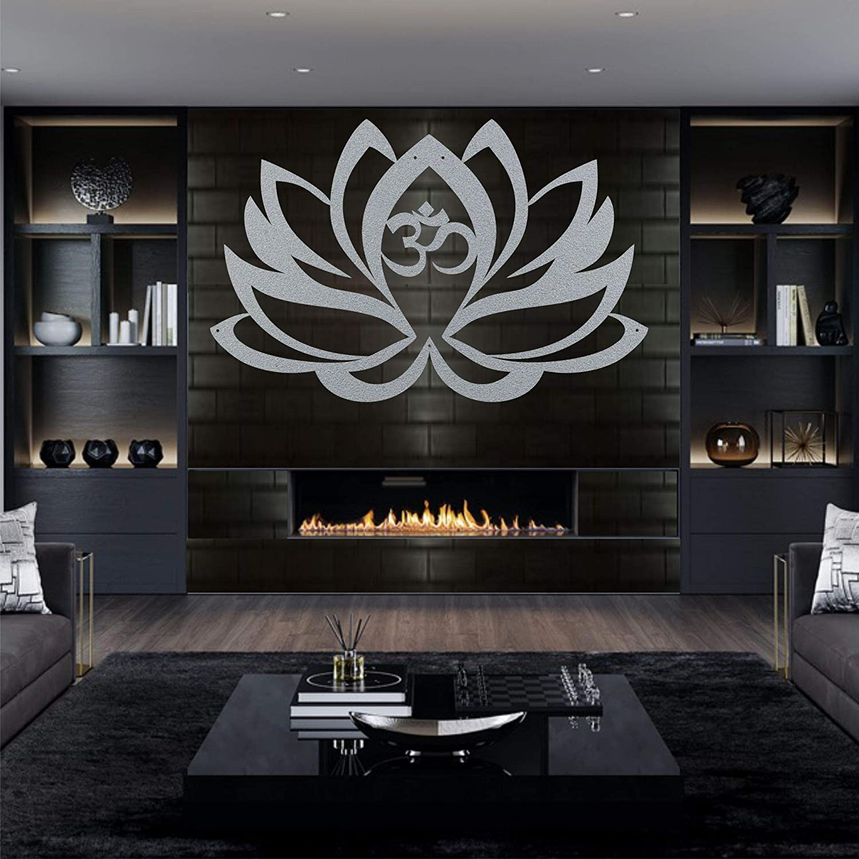 Cuadro de metal para pared metal, dise/ño de flor de loto, color plateado y gris Art/_Deco 60 x 39 cm plata Dekadron