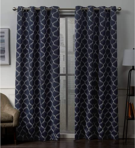 Exclusive Home Curtains Amelia Embroidered Woven Blackout Grommet Top Curtain Panel Pair, 52×96, Peacoat Blue