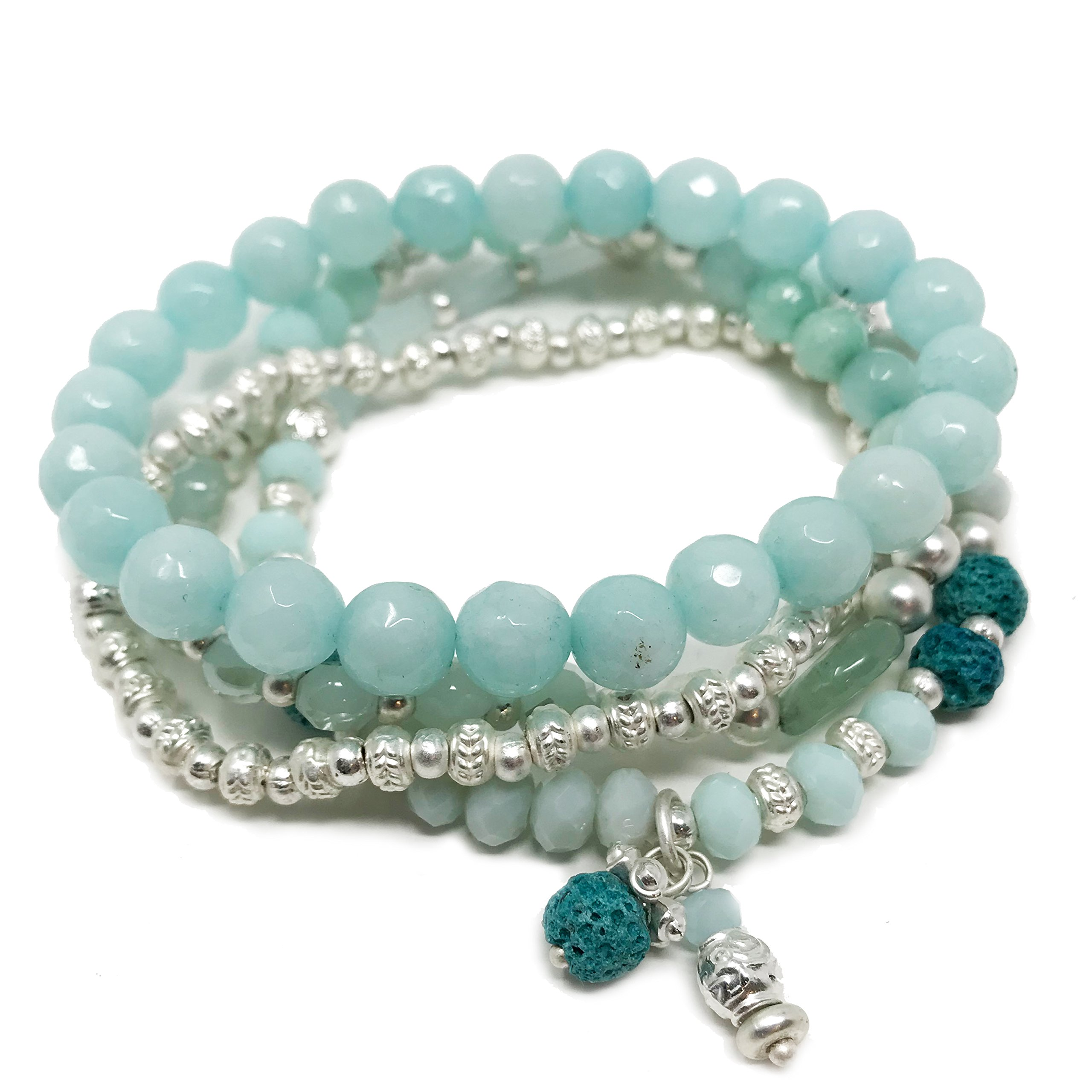 JADE POP - Women's Multicolored Beaded Stretch Stackable Chain Bracelet Set with Charm - Ocean Blue by Jade Pop