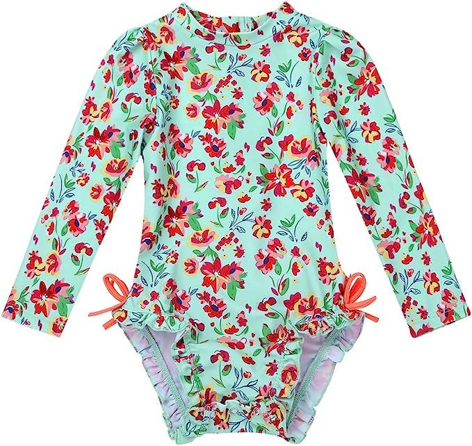 Freebily Baby Boys Girls One Piece Striped Zip Rash Guard Swimsuit Sun Protection Swimwear Wetsuit UPF 50+