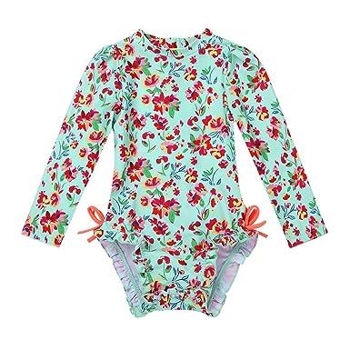 0599219006640 iixpin Bébé Fille Maillot de Bain Une Pièce Eté Petit Imprimé Combinaison à  Manches Longues Costume