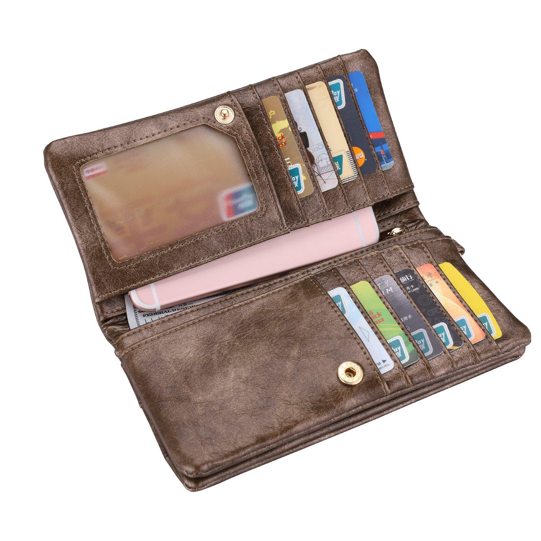 Realer Women's Wallet Clutch Double Zipper Card Holder Case Gift Purse