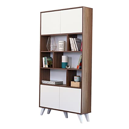 Couchette Prism Walnut Bookshelf With White Doors And Prismatic Legs Made In France