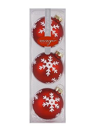 Christbaumkugeln Modern.Weihnachtskugeln Schneeflocke Rot Matt 3er Set 8cm