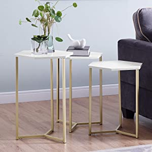 WE Furniture AZF16HEX3WM Nesting Tables Set of 3 Faux White Marble/Gold