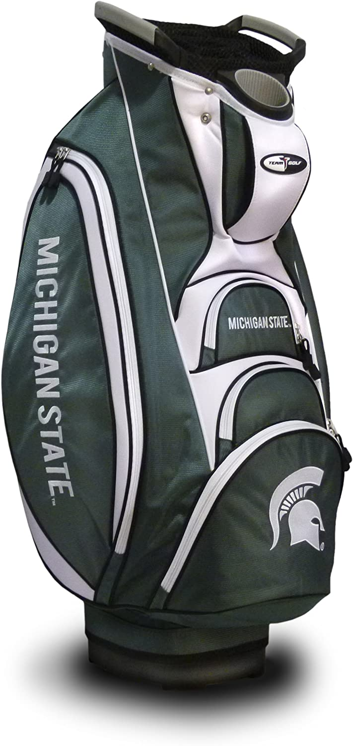 Team Golf NCAA Michigan State Spartans Victory Golf Cart Bag, 10-way Top with Integrated Dual Handle & External Putter Well, Cooler Pocket, Padded Strap, Umbrella Holder & Removable Rain Hood : Sports & Outdoors