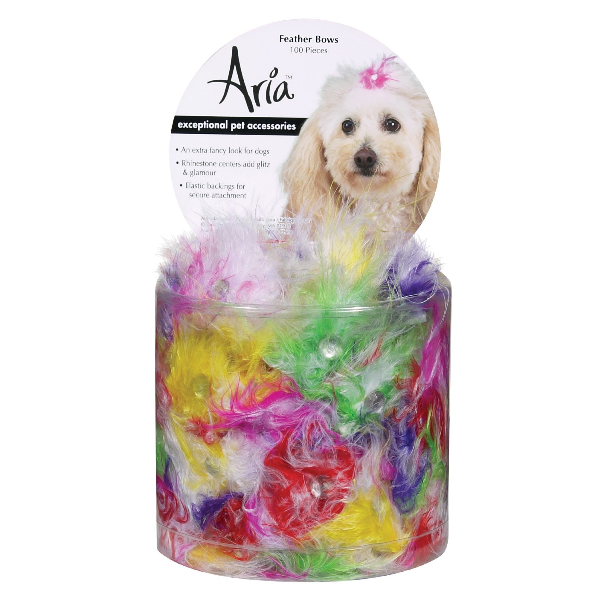 Aria Feather Bows for Dogs, 100-Piece Canisters by Aria