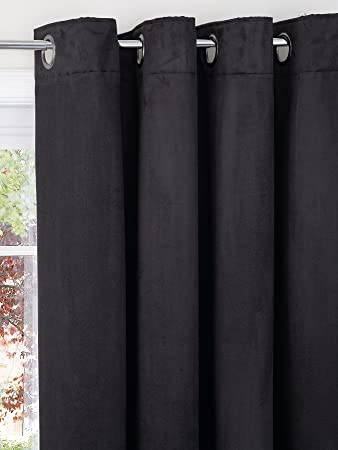 Faux Suede Eyelet Curtains (Extra long drop available) [Single ...