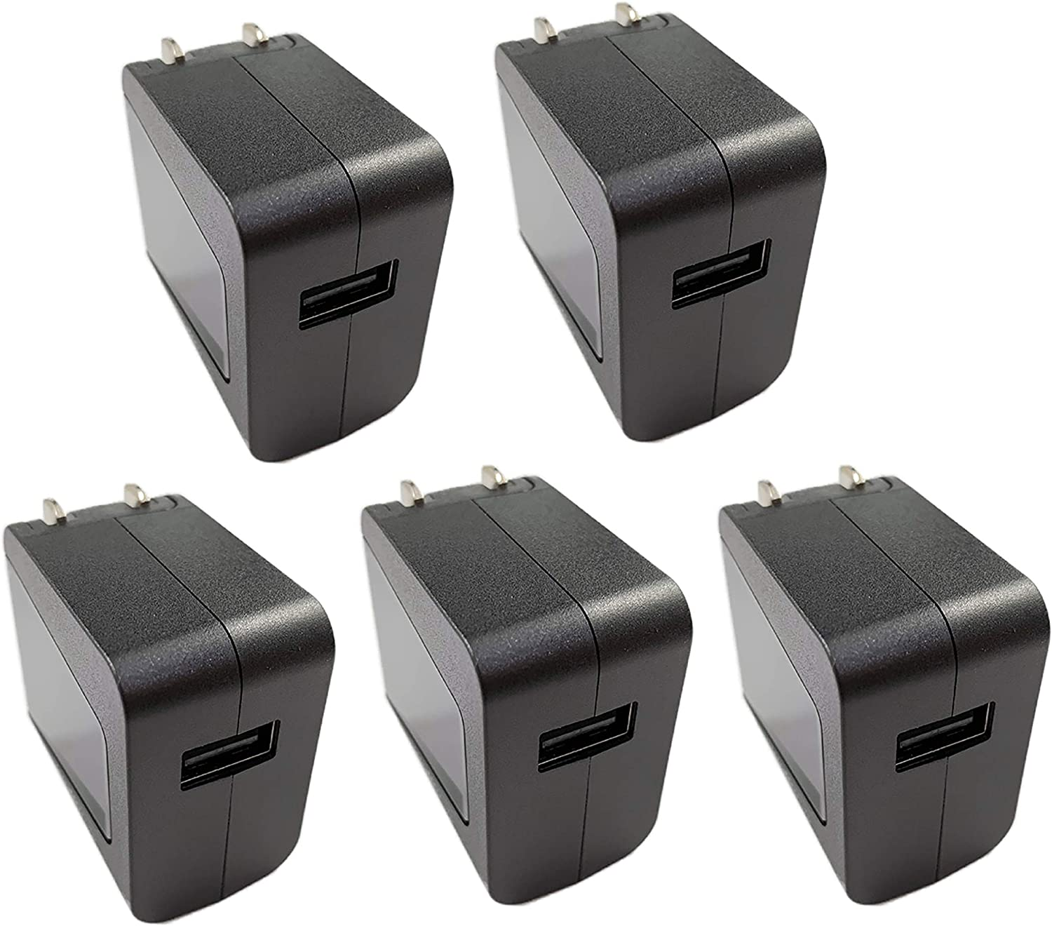 (5-pack) 5.2V 2.1A Universal Travel Adapter International Wall Charger Quick Charger Plug Cube for iPhone XS/Max/XR/X/8/7/Plus iPad Pro/Air 2/Mini 3/Mini 4 Samsung Edge LG HTC Nokia Huawei Moto Kindle