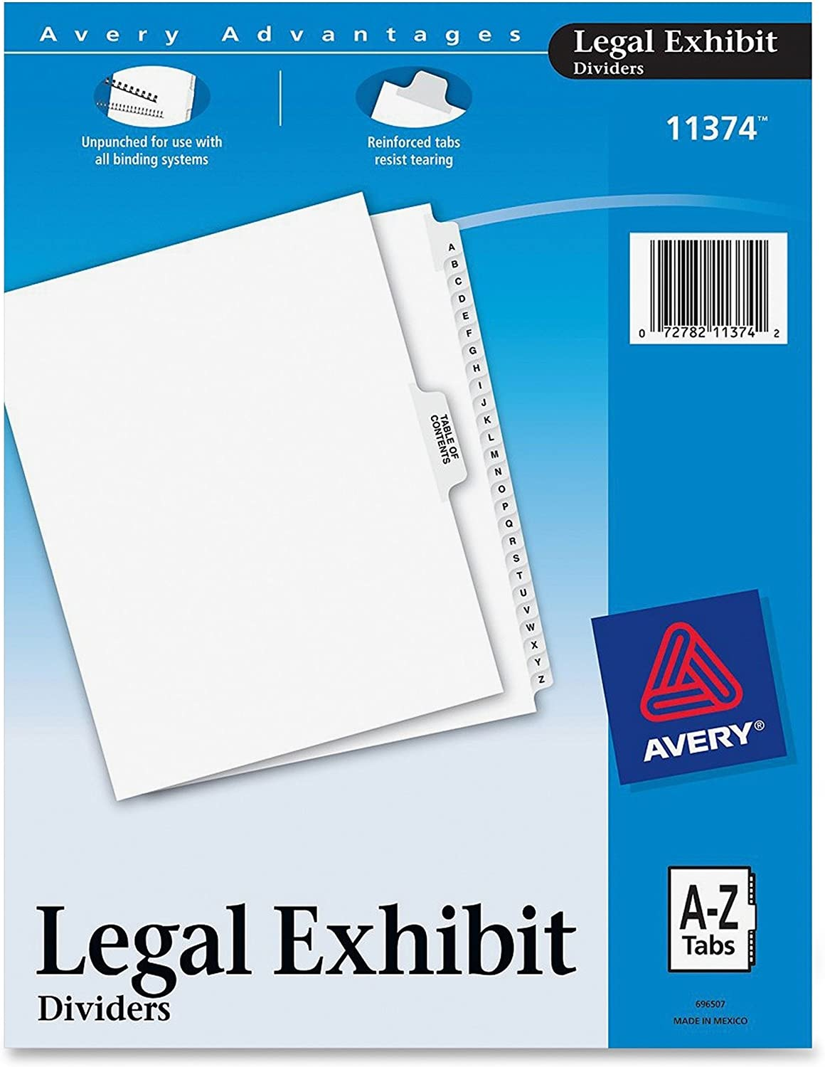Avery-Style Premium Collated Legal Index Exhibit Dividers, A-Z and Table of Contents, Side-Tab, 8.5 x 11-Inches, 1 Set (11374), White : Binder Index Dividers : Office Products
