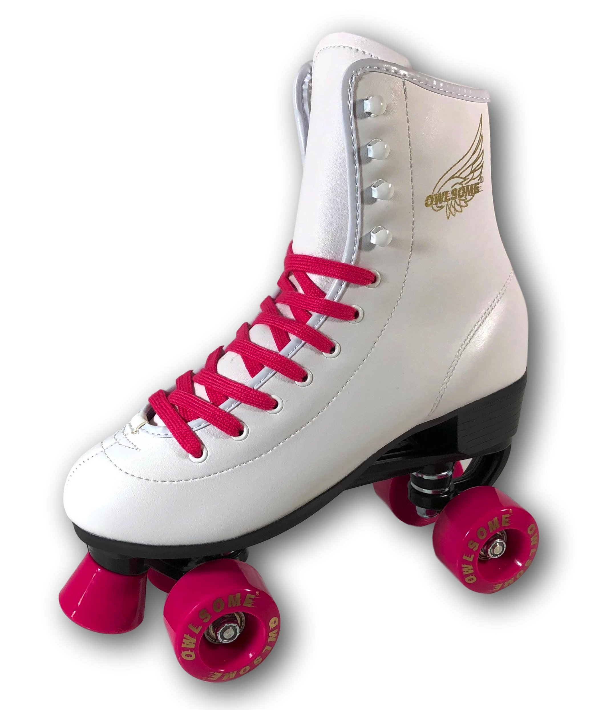 Owlsome Classic High Top Boot Style Soft Faux Leather Roller Skate For Adult & Youth (White/Pink, 1 (8.12''/20.6cm))