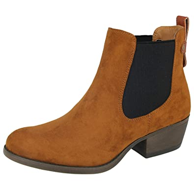 9fa4f0a5633 Shoes By Emma Ladies Faux Suede Twin Elastic Gusset Slip On Chelsea Low  Block Heel Western Ankle Boots Size 4-8