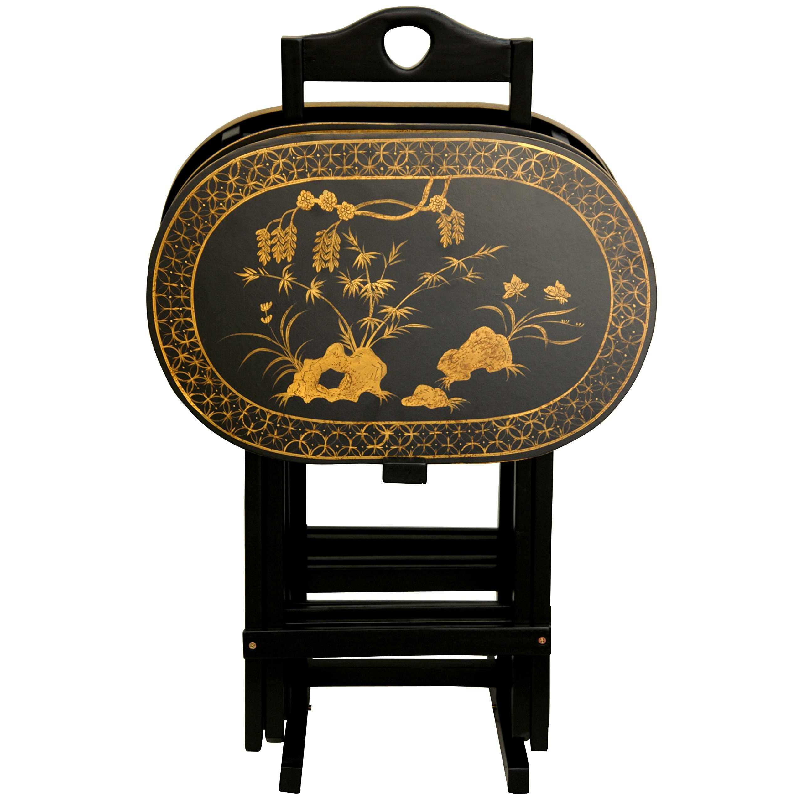 Oriental Furniture Rosewood TV Tray Set - Antique Gold