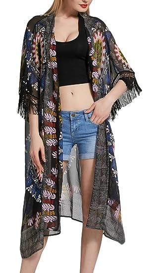 Cardigan Mujer Verano Largo Elegante Moda Gasa Boho Playa Kimono Loose Casual Joven Bastante Tops Impresa