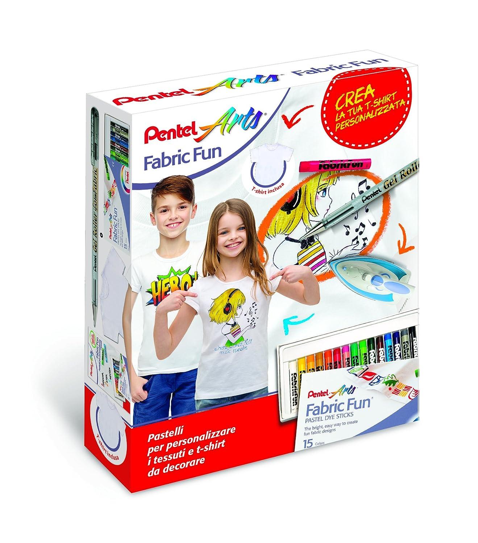 Pentel PTS Pastelli per Tessuti Fabric Fun confezione 15 colori