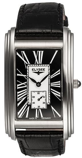 ELYSEE PALLAS 69005 - Reloj de caballero de cuarzo, correa de piel color negro: Amazon.es: Relojes