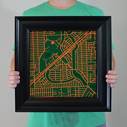 Amazon Com University Of Miami Campus Map Art 16 5 Frame Posters
