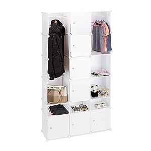 Relaxdays Armario Dormitorio Modular, Blanco, 36.5x145.5x145.5 cm