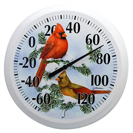 Springfield Snowy Cardinal Low Profile Patio Thermometer (13.25 Inch)