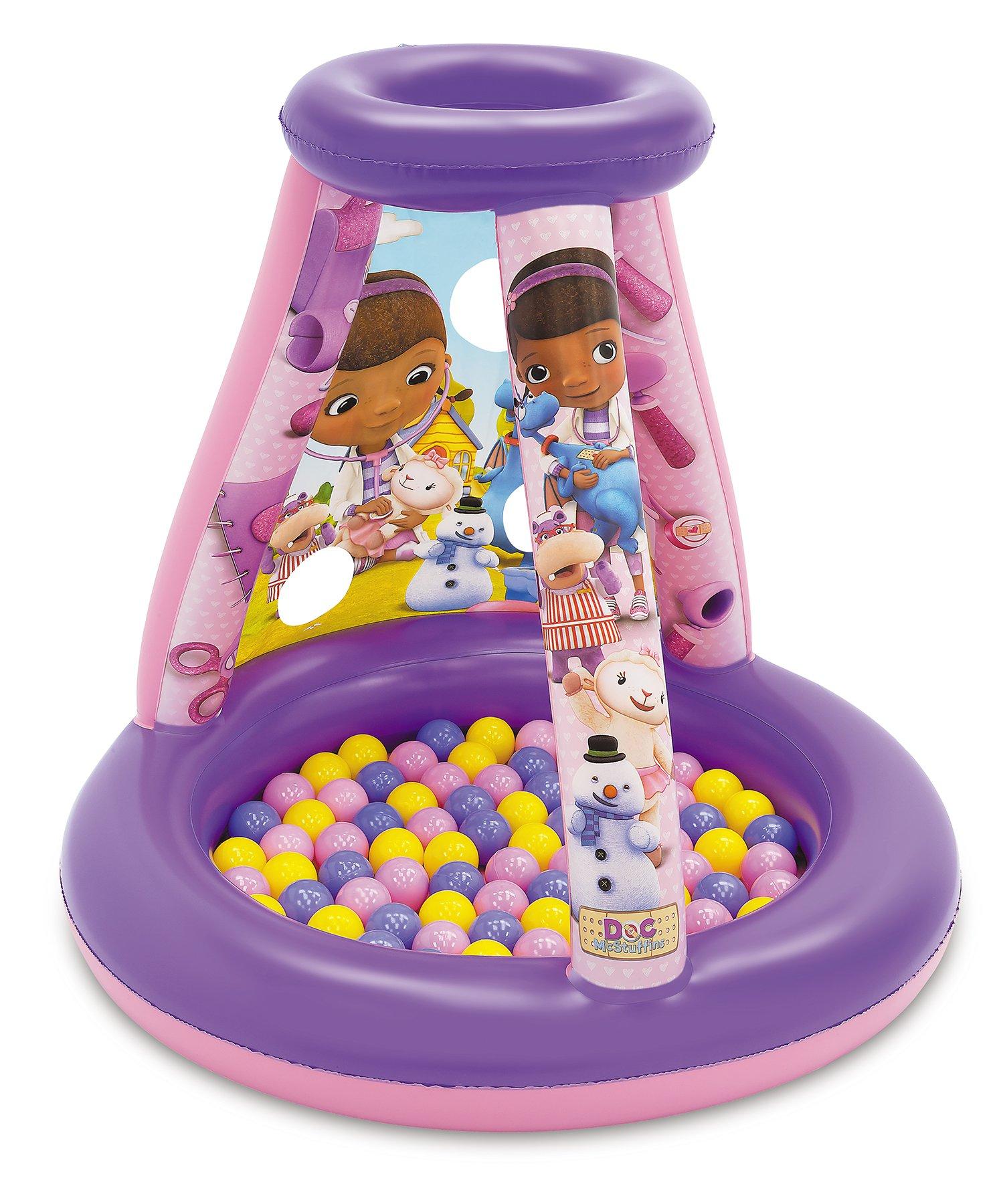 Doc McStuffins Friendship is The Best Medicine Ball Pit, 1 Inflatable & 15 Sof-Flex Balls, Purple/Pink, 28'' W x 28'' D x 33'' H by Doc McStuffins (Image #1)