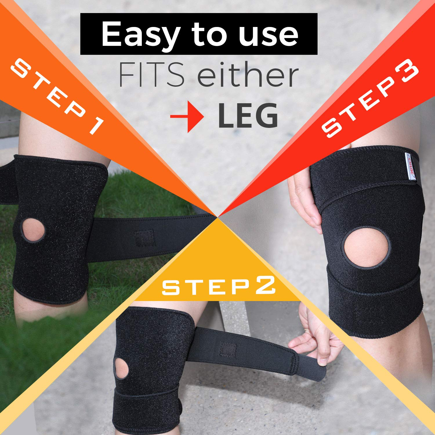Ultimate Elastic Knee Support by ORBE – ACL & Patella Stabilizing Brace for Men & Women – Neoprene Compression Sleeve for Sports Injuries - Comfortable Running Bandages Good for Pain Relief & Repair