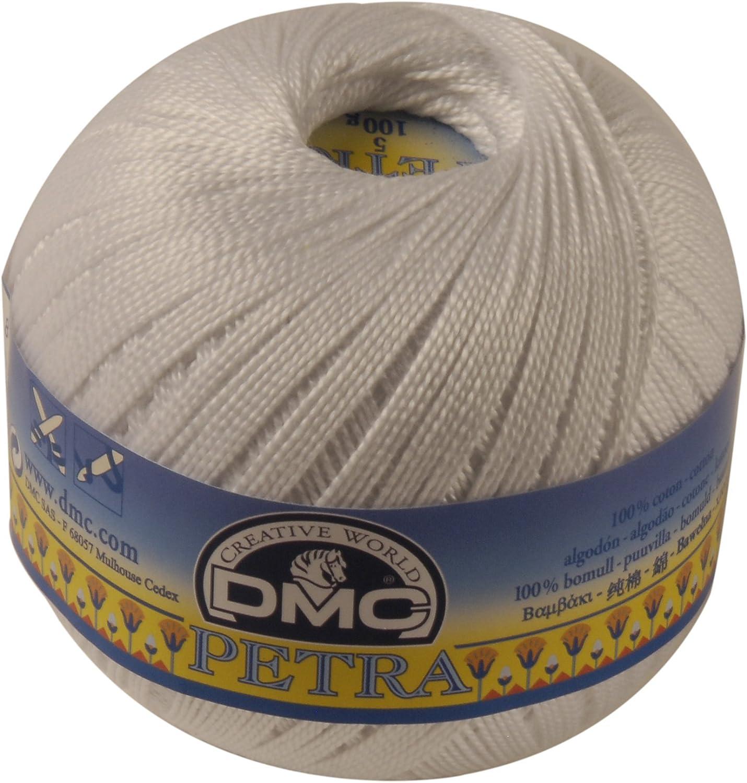DMC Petra Ovillo, 100% algodón, Color Blanco, tamaño 5: Amazon.es: Hogar