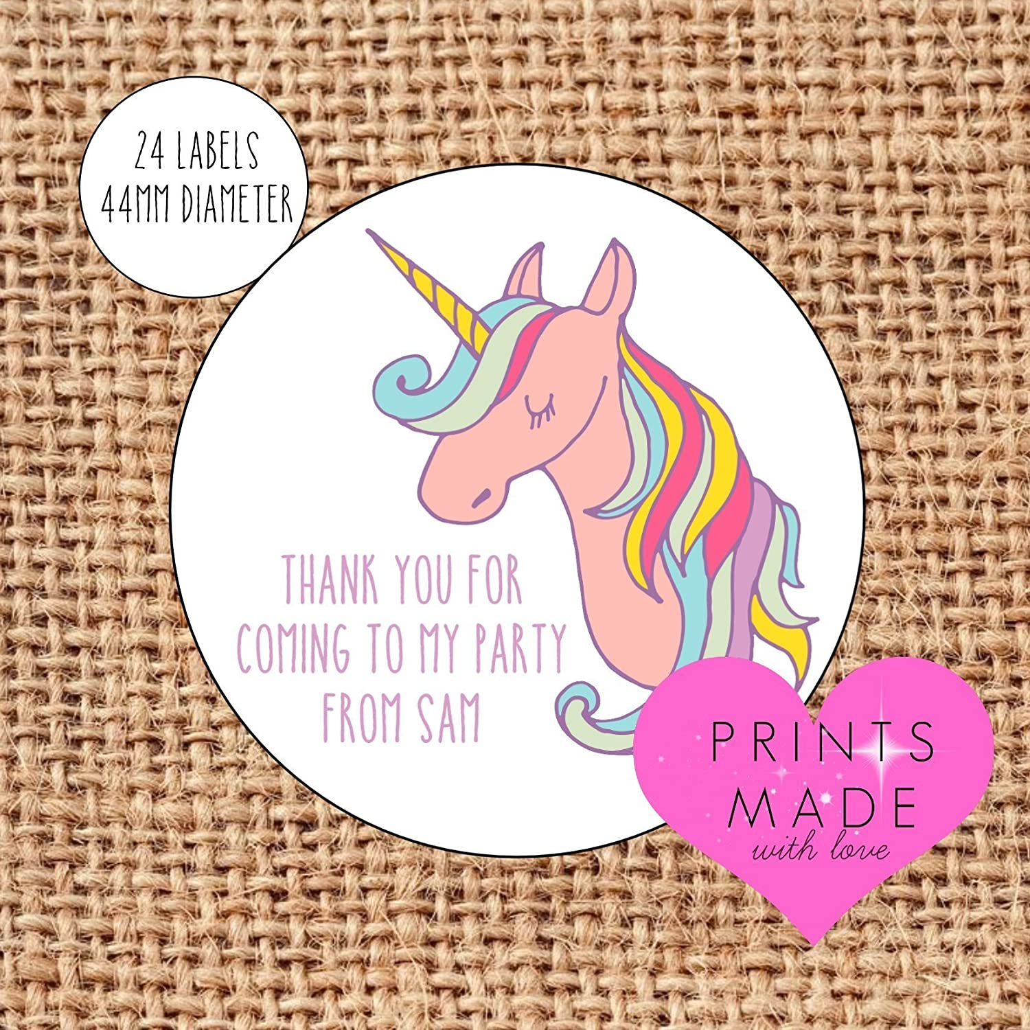 Personalised unicorn party bag stickers thank you for coming 24 labels unicorn sweet cones labels 1st birthday pink amazon co uk handmade