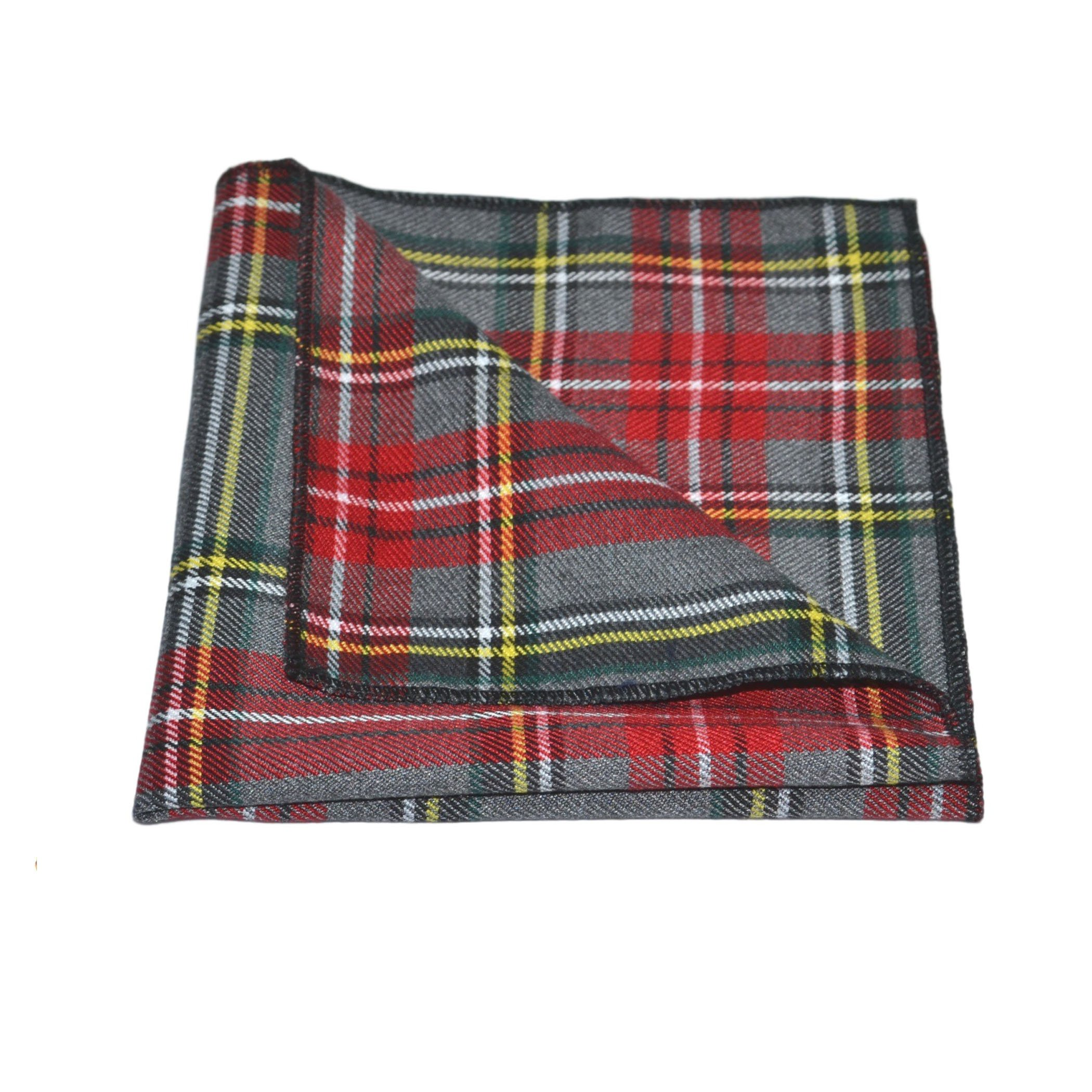 Traditional Light Grey & Red Tartan Pocket Square, Handkerchief, Check, Plaid