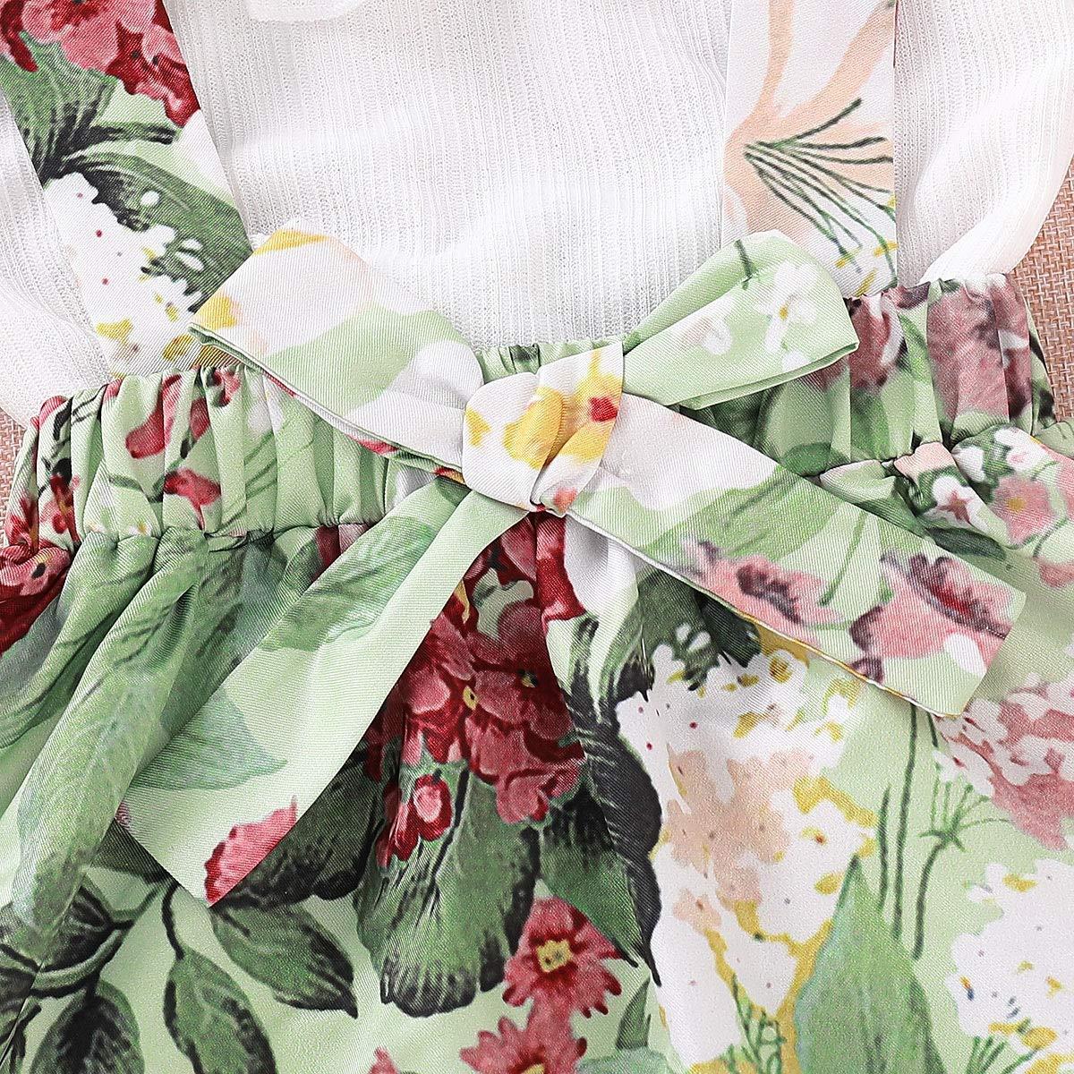 Toddler Girl Outfits Sleeveless Flouncing Shirt Floral Suspender Bowknot Skirt Set