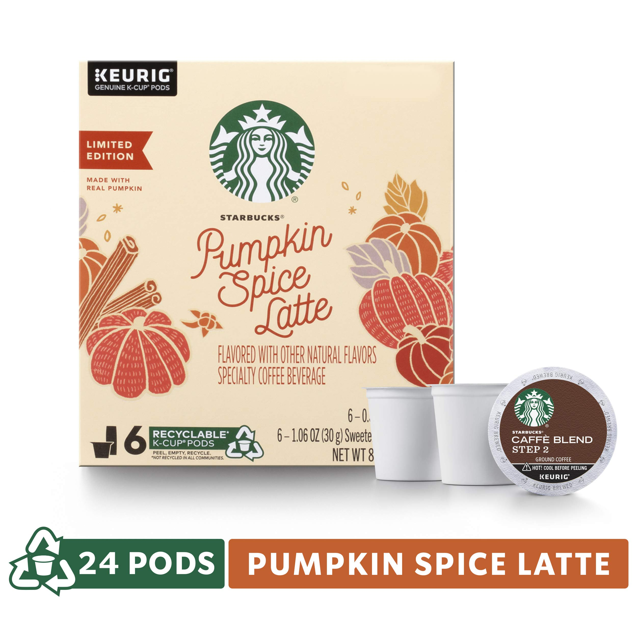 Starbucks Pumpkin Spice Caffe Latte Single-Cup Coffee for Keurig Brewers, 4 Boxes of 6 (24 Total K-Cup Pods) by Starbucks