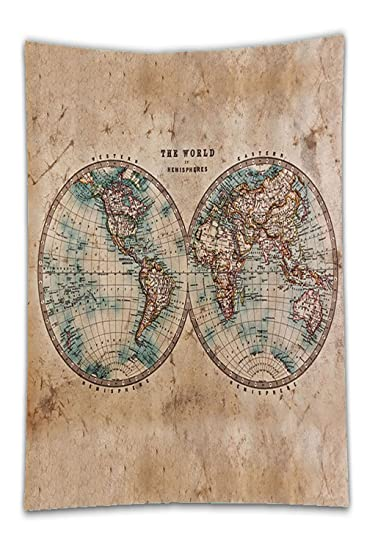 Amazon beshowereb fleece throw blanket earth tonedecor beshowereb fleece throw blanket earth tonedecor collection old world map from for geography and history print gumiabroncs