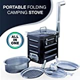 Camping Stove – Portable Outdoor Charcoal Biomass and Wood Burning Folding Camp Stove for Camping, Hiking, Fishing, Hunting, RV, Emergency Preparedness - Camping Grill - Survival Backpacking Stove