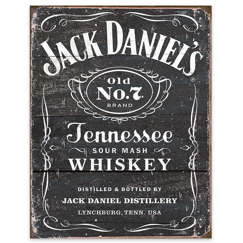 signs-unique MS1916 Jack Daniel's-Weathered Logo Tin 13 x 16in, Black