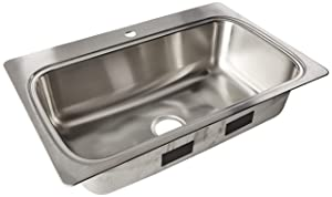 Kohler K-20060-1-NA Verse 33 inch x 22 inch Drop-In single Bowl Kitchen Sink with single Faucet Hole; Stainless steel