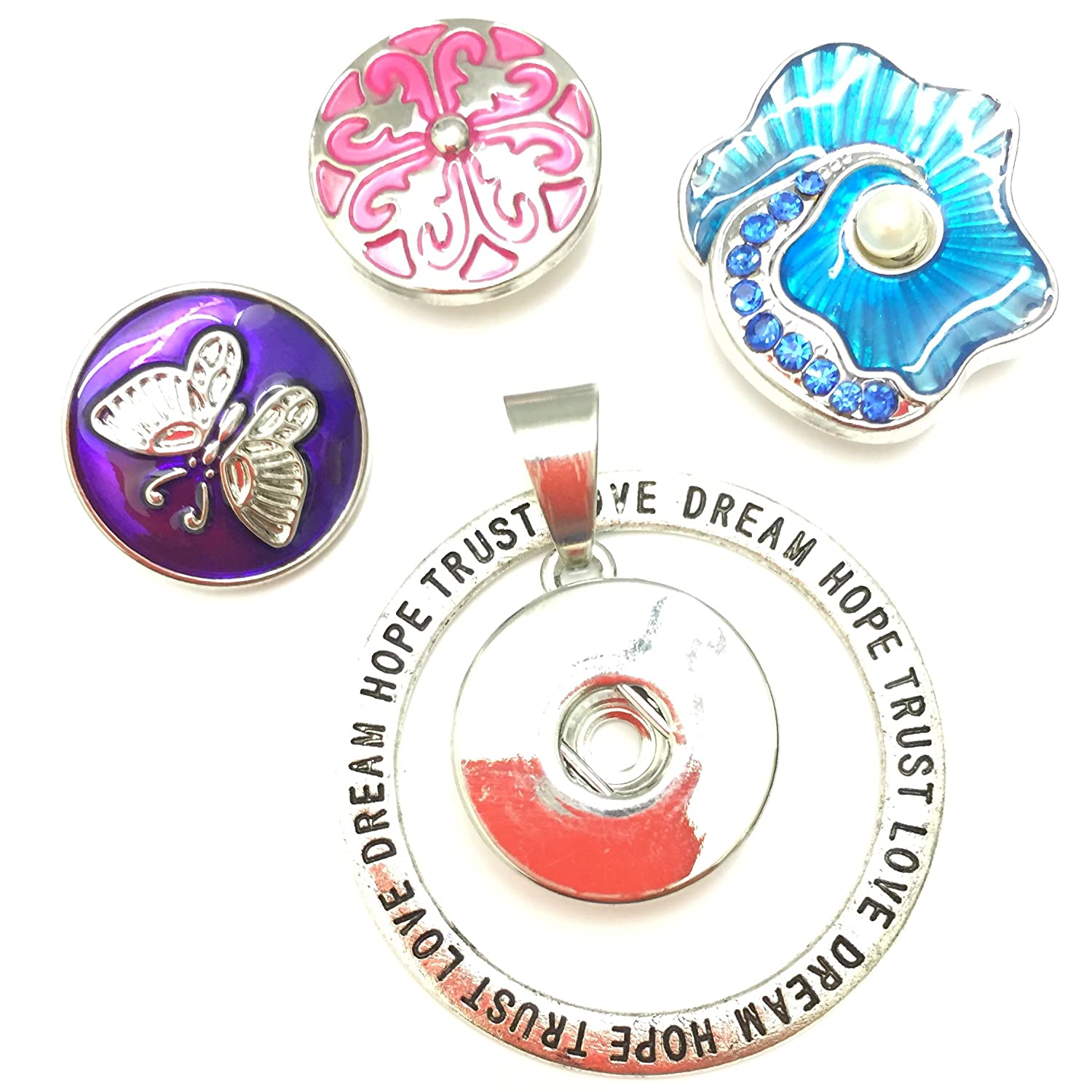 Banju Interchangeable Snap Button Pendant set with Inspirational words