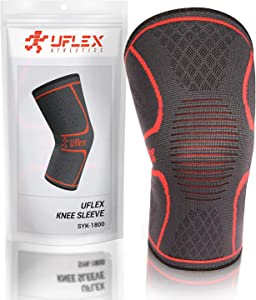 UFlex Athletics Knee Compression Sleeve Support for Running, Jogging, Sports - Brace for Joint Pain Relief, Arthritis and Injury Recovery - Single Wrap…