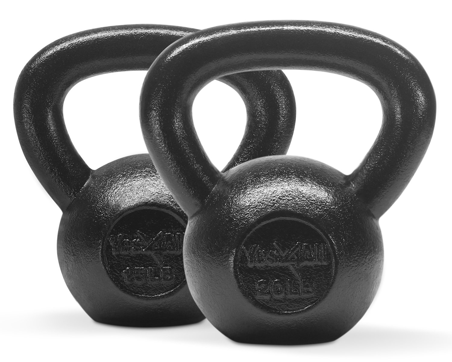 Yes4All Combo Cast Iron Kettlebell Weight Sets – Great for Full Body Workout and Strength Training – Kettlebells 15 20 lbs (Black)