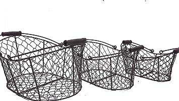 Rustikale geschwungene Drahtkörbe - 3er Set - für Dekorationen ...