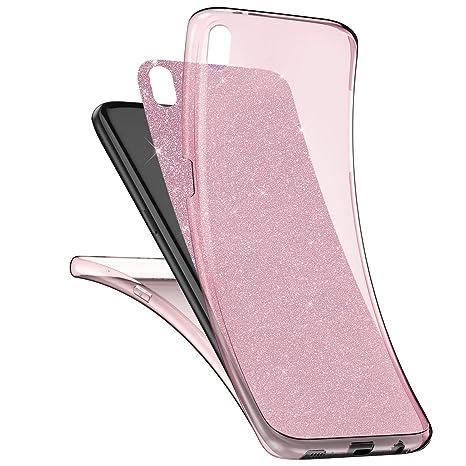 kompatibel mit Sony Xperia XA Hülle,Sony Xperia XA Full Body 360 Grad TPU Silikon Crystal Case,Glänzend Glitzer Transparent V