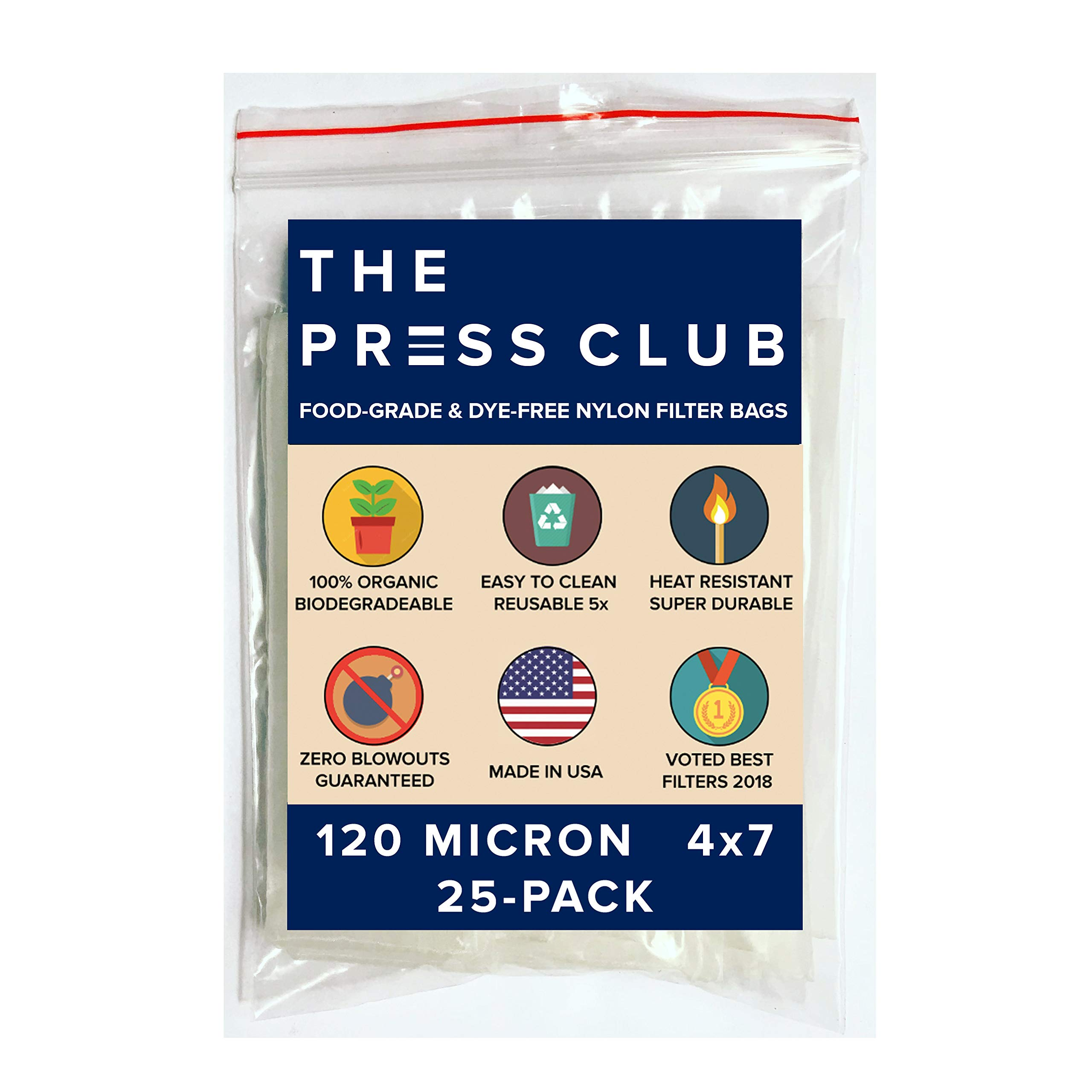 120 Micron | Premium Nylon Tea Filter Press Screen Bags | 4'' x 7'' | 25 Pack | Zero Blowout Guarantee | All Micron & Sizes Available by The Press Club