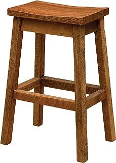 product image for Barnwood Upholstered Saddle Stool - Custom - Reclaimed Barn Wood USA
