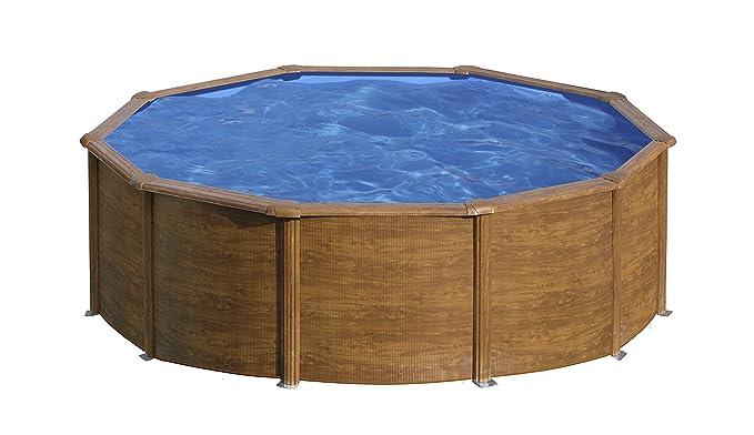 Gre KITPR453W- Piscina Sicilia desmontable redonda de acero decoración madera Ø460x120 cm: Amazon.es: Juguetes y juegos