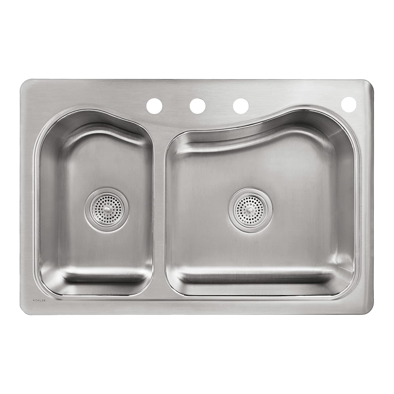 kohler k33614na staccato dual largemedium selfrimming kitchen sink stainless steel double bowl sinks amazoncom