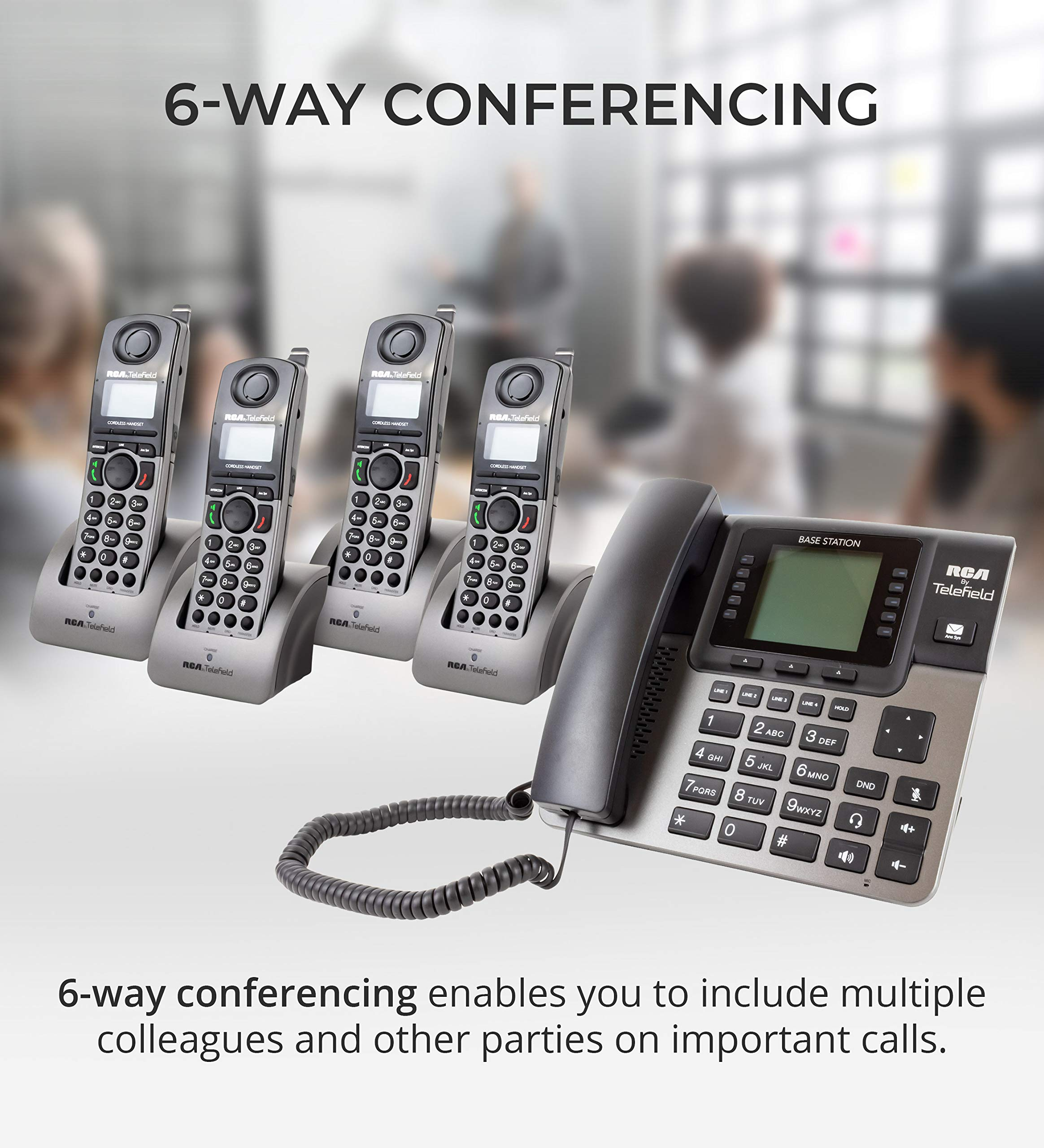 RCA U1000 Unison 4-Line Expandable Phone System - Full-Duplex Speakerphone Bundle with RCA U1200 DECT 6.0 Cordless Accessory Handsets (4-Pack) and 6 Blucoil AAA Batteries by blucoil (Image #4)